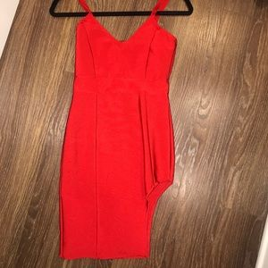 Sexy red bodycon dress with slit SOLD